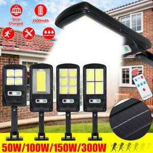 300W Outdoor Solar Street Wall Light Walkway Sensor PIR Motion LED Lamp Remote