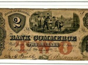"""$2 """"BANK OF COMMERCE"""" (GEORGIA) 1800'S $2(BANK OF COMMERCE) RARE! NICE NOTE!!!"""