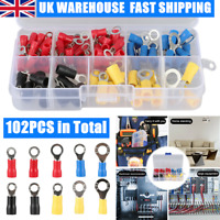 102x Insulated Electrical Crimp Ring Spade Assorted Connector Wire Terminals Kit