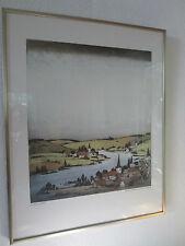 """Bild - Gunter Ullrich 1981 ~ """"Drei Dörfer am Main"""" ~ 35,5 x 31 cm"""