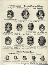 1937 PAPER AD Cornelain Cameo Brooch Rings Sterling Silver Shoe Buckles Stone