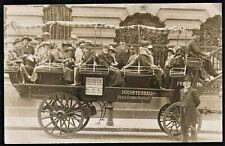 WAGON BUS 1922 SCENE TRANSPORTATION SOCIAL HISTORY ANTIQUE PHOTO POSTCARD