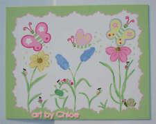 16 x 20 SPRING MEADOW Kids Bath Butterfly Bugs Art