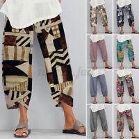 ZANZEA Women Vintage Chino Cotton Linen Print Elastic Waist Trousers Pants Plus
