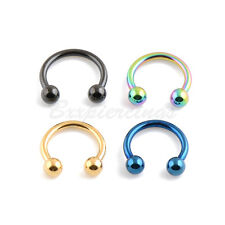 "4  16G 5/16"" Titanium Anodized 316L Steel Horseshoe Circular Barbell Ears Labret"