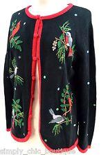 Mercer Street Studio Cardigan Sweater button up birds beaded top knit RARE VTG S