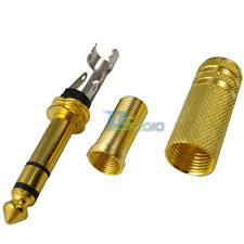 6.35mm 1/4 Gold Male STEREO Convertr Plug Audio Cable Connectors Jacks Adapter