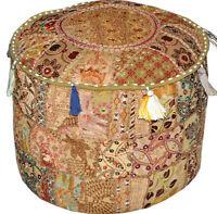 Diwali Decoration Vintage pouf Ottoman Embroidered Footstool Decorative Bean Bag