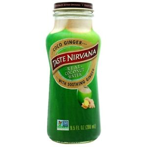 Taste Nirvana Real Coconut Water with Soothing Ginger 9.5 oz ( Pack of 12 )