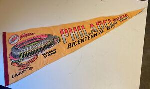 1976 Philadelphia veterans stadium bicentennial Pennant Eagles Phillies 12 x 29