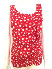 BNWOT Jones New York signature Ladies red white spotted ruffle vest top Size XL