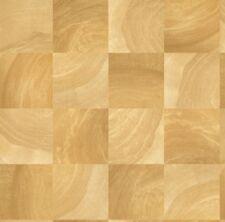 Kathy Ireland Golden Oak Faux Square Wood Blocks Easy Walls Wallpaper Nl58282