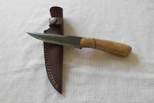 Handgemachtes Lappland Jagd Messer mit Lederscheide neu Damaststahl/Holz