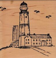 "lighthouse hampton art Wood Mounted Rubber Stamp 3 1/2 x 3 1/2""  Free Shipping"