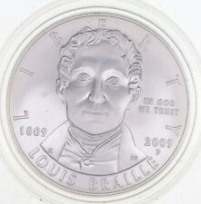 Unc 2009-P Louis Braille Commemorative US Dollar 90% Silver Collectible *240