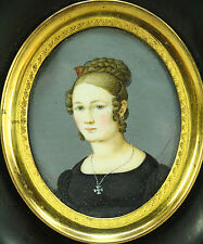 !Antique Ea.1800s FINE Hand Painted Miniature Portrait of a Beautiful Young Lady