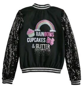 Jojo Siwa Rainbows, Cupcakes & Glitter Sequin Bomber Jacket Black Girls XS S M.L