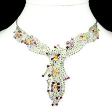 REAL Citrine Chrome Diopside Garnet Tanzanite Tourmaline 925 Silver BIB Necklace