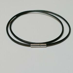 Lederkette, Lederband, Halskette Ø 2 mm mit Steckverschluss, schwarz rund