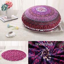 "Purple Mandala Floor Pillows 32"" Round Meditation Cushion Cover Ottoman Pouf"