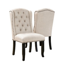 Furniture of America Tays Rustic Linen Fabric Dining Chairs (Set of 2) - Beige