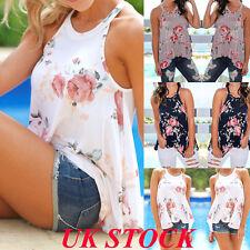 UK New Women Summer Floral Vest Sleeveless Top Beach Casual Loose T Shirt Blouse