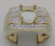 18k Yellow Gold Diamonds Engagement Semi Mount Ring For Man Free Shipping