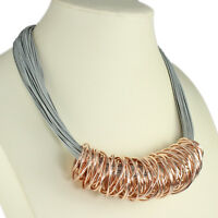 Rose gold chunky spiral wrap grey leather cord choker necklace fashion jewellery