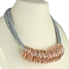 or rose gros spirale emballage gris corde en cuir Collier ras du cou bijoux mode
