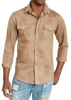 American Rag Mens Shirt Brown Size XL Button Down Western Paisley $45 #001