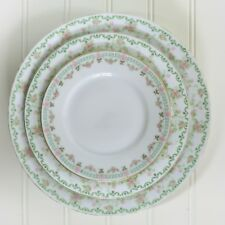 Vintage China Plate Collection Set of 3 Shabby Pink Green Farmhouse Cottage #6
