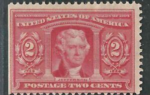 US Stamp 324 2c Red Jefferson MNH Straight Edge Fine 1904 SCV $60.00
