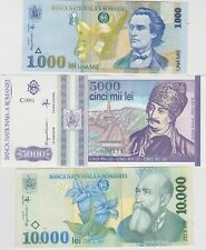 More details for three banknotes from romania 5000 lei to 10,000 lei in mint condition.