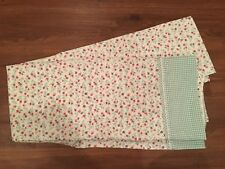 LAURA ASHLEY GINGHAM GREEN/WHITE TWIN FLAT SHEET ~SWEET FLORAL PRINT~CHARMING!