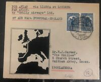1936 Lisbon Portugal First Flight cover FFc To London England Crilly Airways