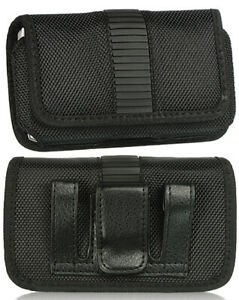 Black Nylon Case Pouch Belt Clip for LG Classic Flip Phone L125DL, Nokia 2720 V
