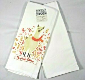 Cynthia Rowley NO PROB-LLAMA 2Pc Kitchen Towels Autumn White Orange Pink Tan