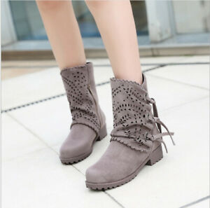 Womens Fashion Zip Tassel Combat Mid Calf Boots Zip Retro Round Toe Flat Shoes