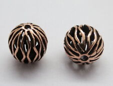 2 Pieces Bali Silver Beads Rose Gold oxidised Polished Round Beads 15mm Long
