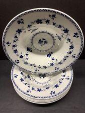 VTG ROYAL DOULTON ENGLAND YORKTOWN WHITE & BLUE RIMMED SOUP BOWL PLATE SET OF 6