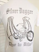 SILVER DAGGER 'Born to Ride' White Tee Shirt Size M NWOT