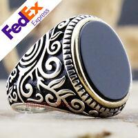 Onyx Stone 925 Sterling Silver TURKISH Handmade Luxury Men's Ring All Sizes