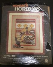 "Vtg Monarch Horizons Indian Motif Crewel Stitchery Kit 16"" x 20"" Pure Wool  1985"