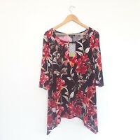 NEW LBisse Womens Size L Floral Print 3/4 Sleeve Tunic - Made in New York
