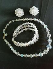 Vintage AB Necklace Earring Bracelet Set Aurora Borealis Glass Crystal Bead Clip