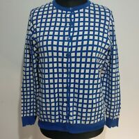Laura Ashley Cardigan Blue White Squares Size 18 Pure Cotton Round Neck Royal