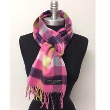 New 100% CASHMERE SCARF Scotland SOFT Square Check Plaid Pink/Purple/Lime/White