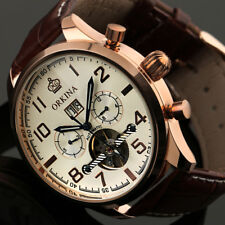 ORKINA Vintage Brown Leather Luxury Automatic Mechanical Date Mens Retro Watch