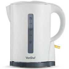VonShef Kettle Cordless White Electric Jug Tea Coffee Boil Dry Protection 1.7L