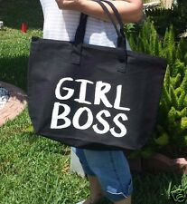 GIRL BOSS Black Canvas Tote Bag Beach Travel Shopping Bikini Cruise Swim Zipper